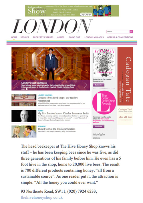 LONDON Magazine-Best London Food Shop Award- The Hive Honey Shop