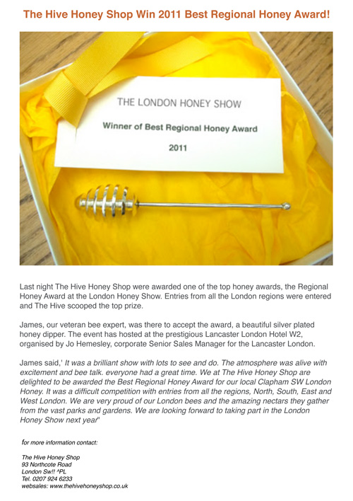 The Hive Honey Shop Win 2011 Best Regional Honey Award!