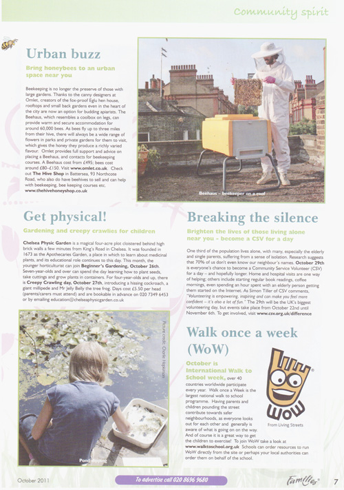 Families Magazine-Beekeeping, Oct 2011