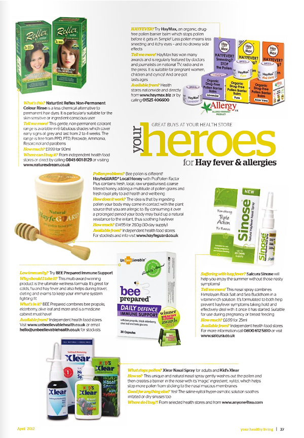 Your Healthy Living Magazine- HayfeGUARD Hayfever Feature