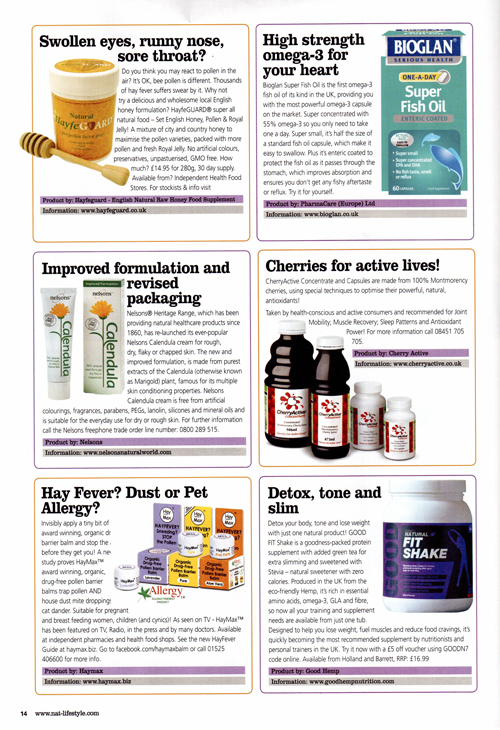 Natural Lifestyle Magazine- product feature