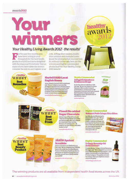 Your Healthy Living-HayfeGUARD WINS AWARD, Dec 2012,artical
