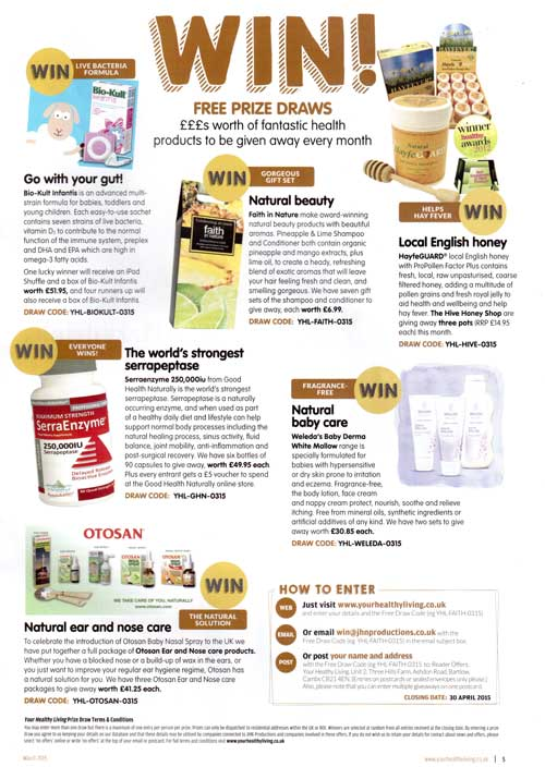 Your Healthy Living- March 2015- give away